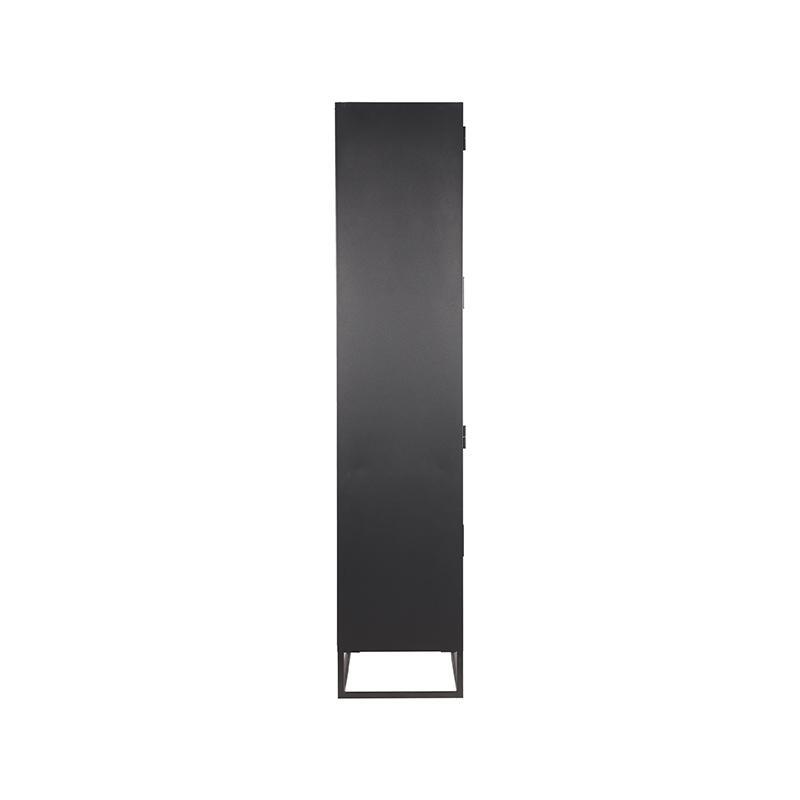 Vitrinekast Level - Zwart - Metaal - 80x40x190 cm