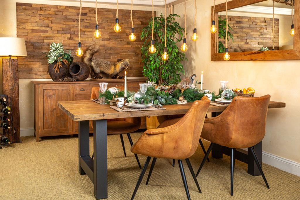 Team en ijzer eetkamertafel en salontafel