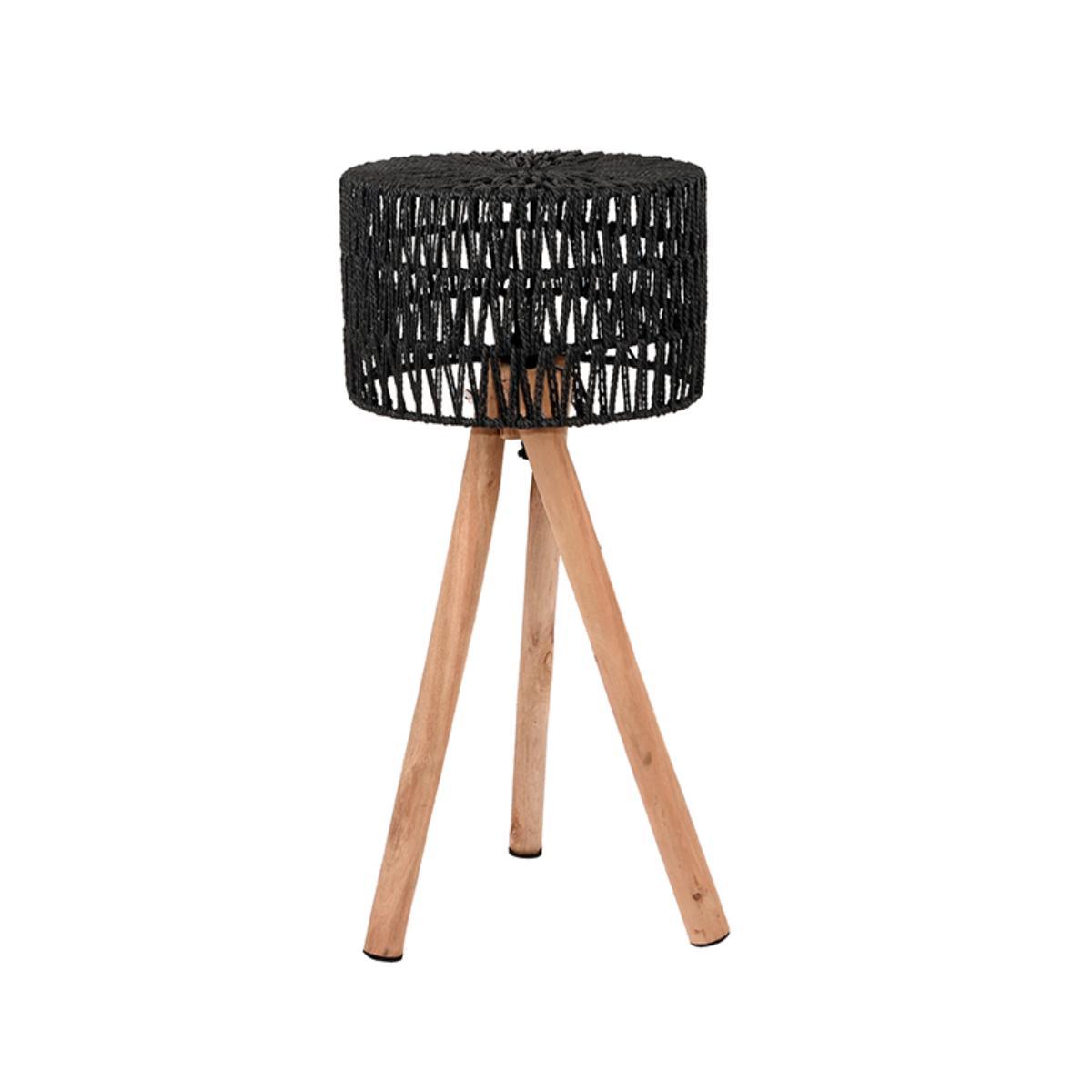 Tafellamp Stripe - Zwart - Mangohout