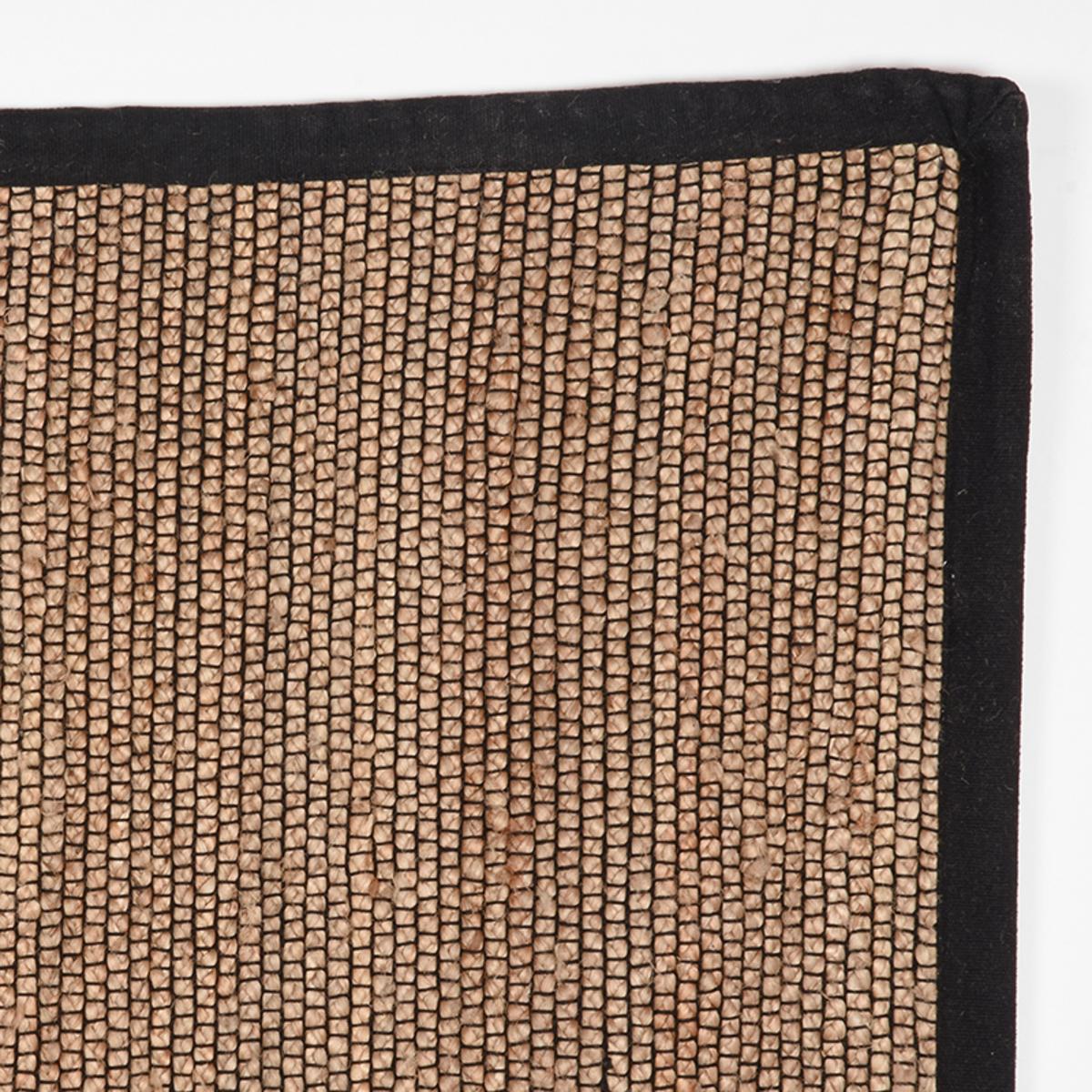 Vloerkleed Jute - Zwart - Jute - 140x160 Cm
