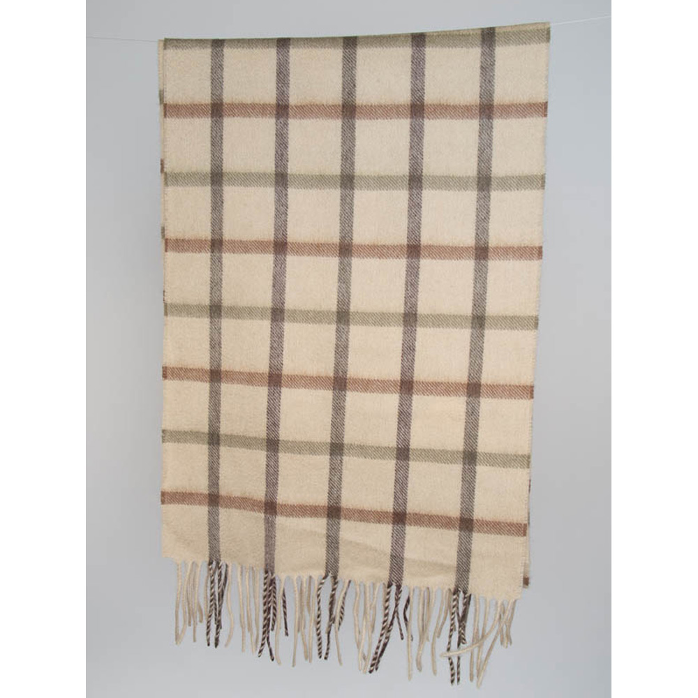 Bay tattersall scarf lambswool olive