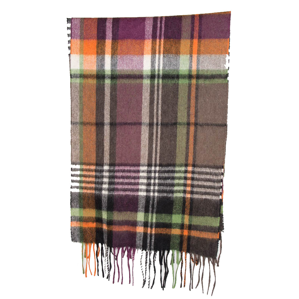 Sjaal Bright country plaid lambswool olive/purple