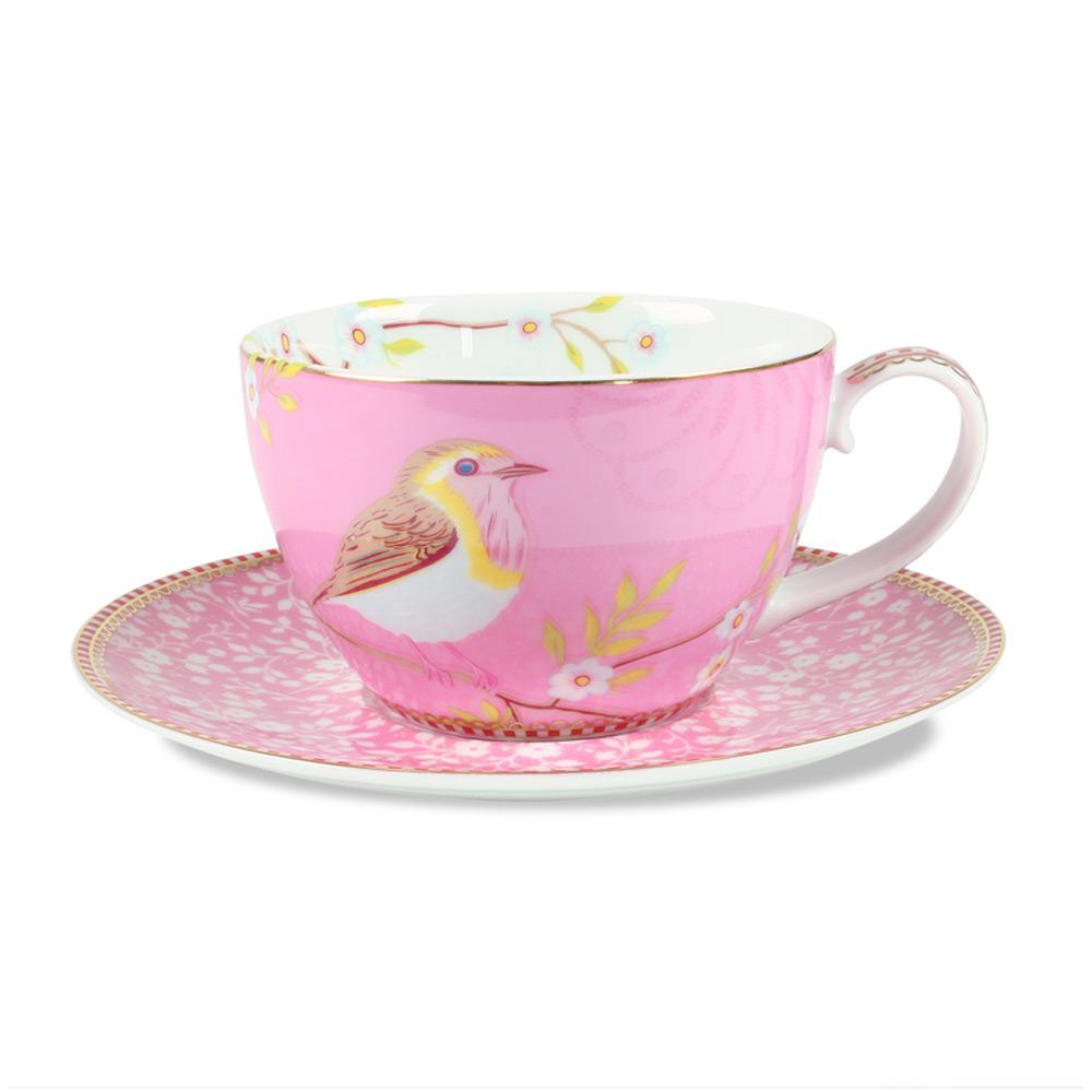 Cappuccino Kop & Schotel vogel pink 280 ml