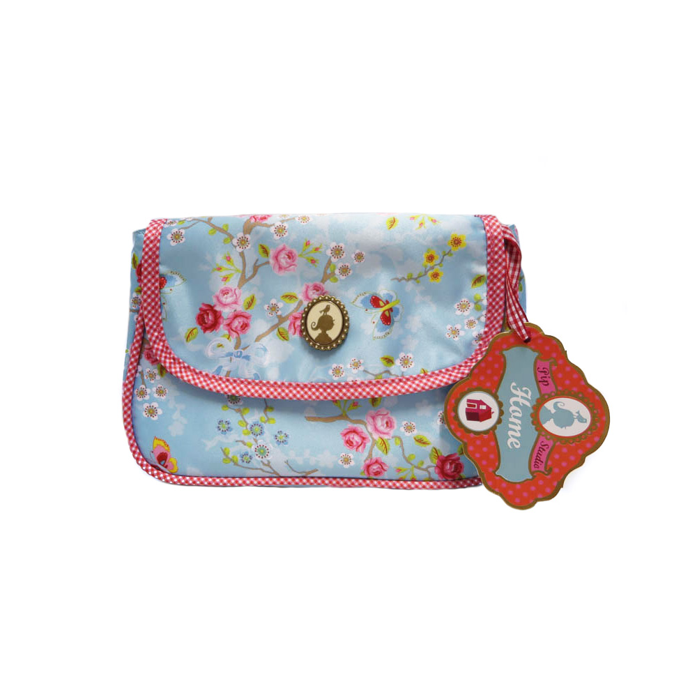 Cosmeticbag+flap S Chinese Rose - Blue