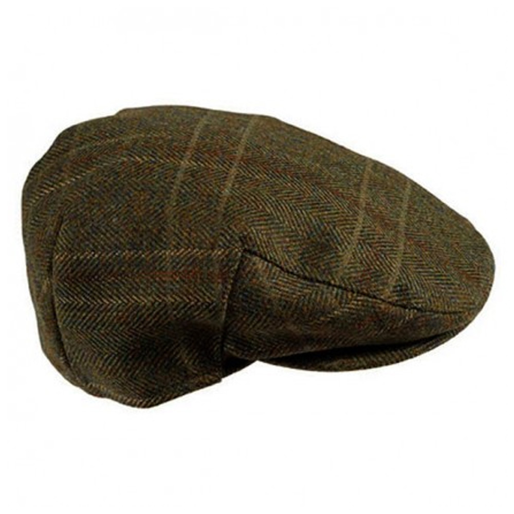 Crieff Cap olive country tweed