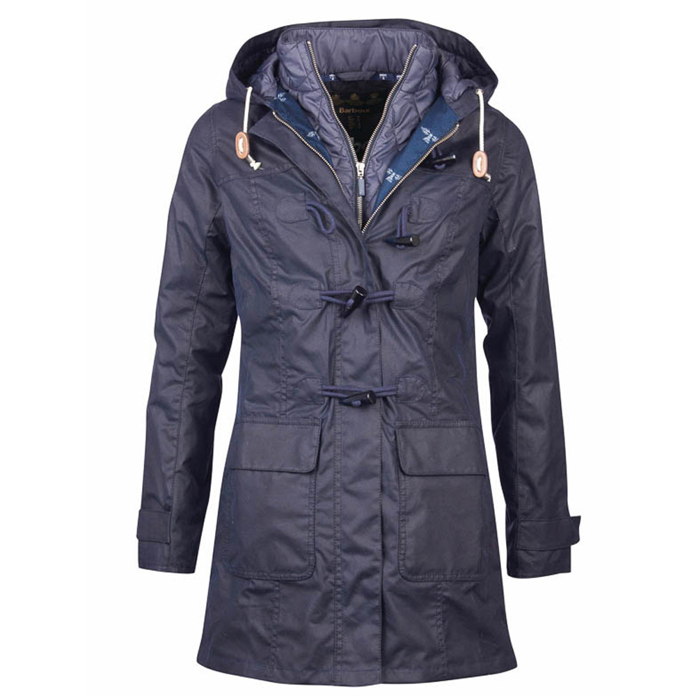 Dames waxjas Shipper duffle coat navy