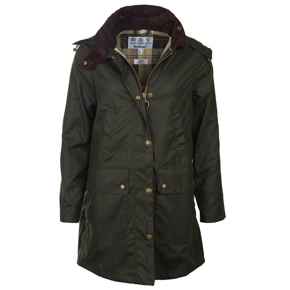 Damesjas Border wax jacket Sage