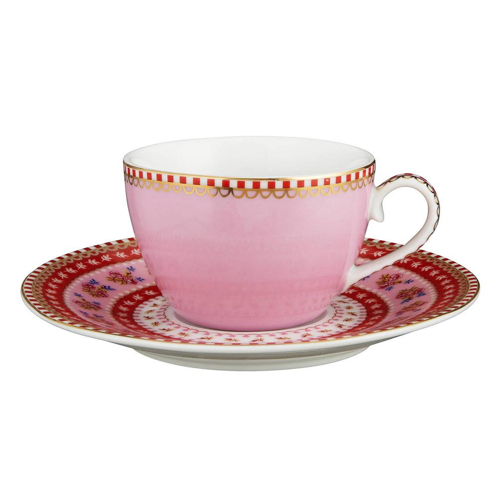 Espresso kop & schotel Streep Pink