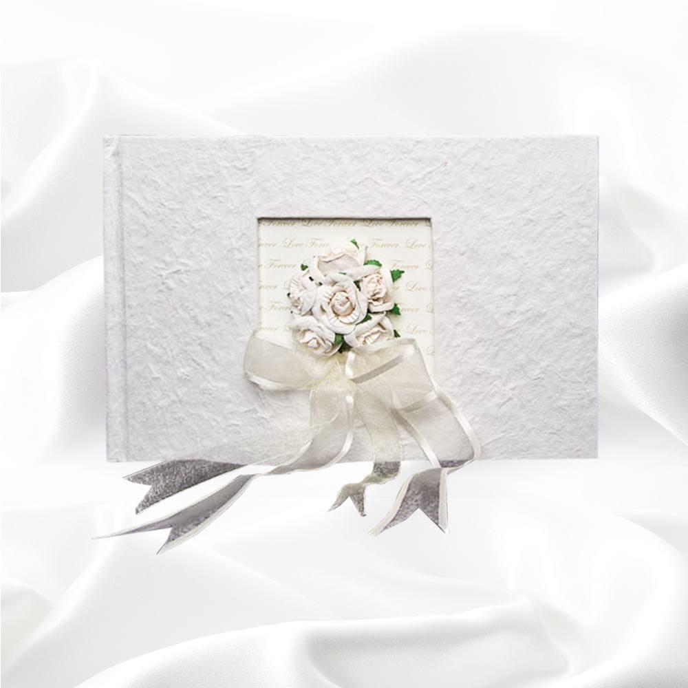 Fotoboek rechthoek met roosjes en strik
