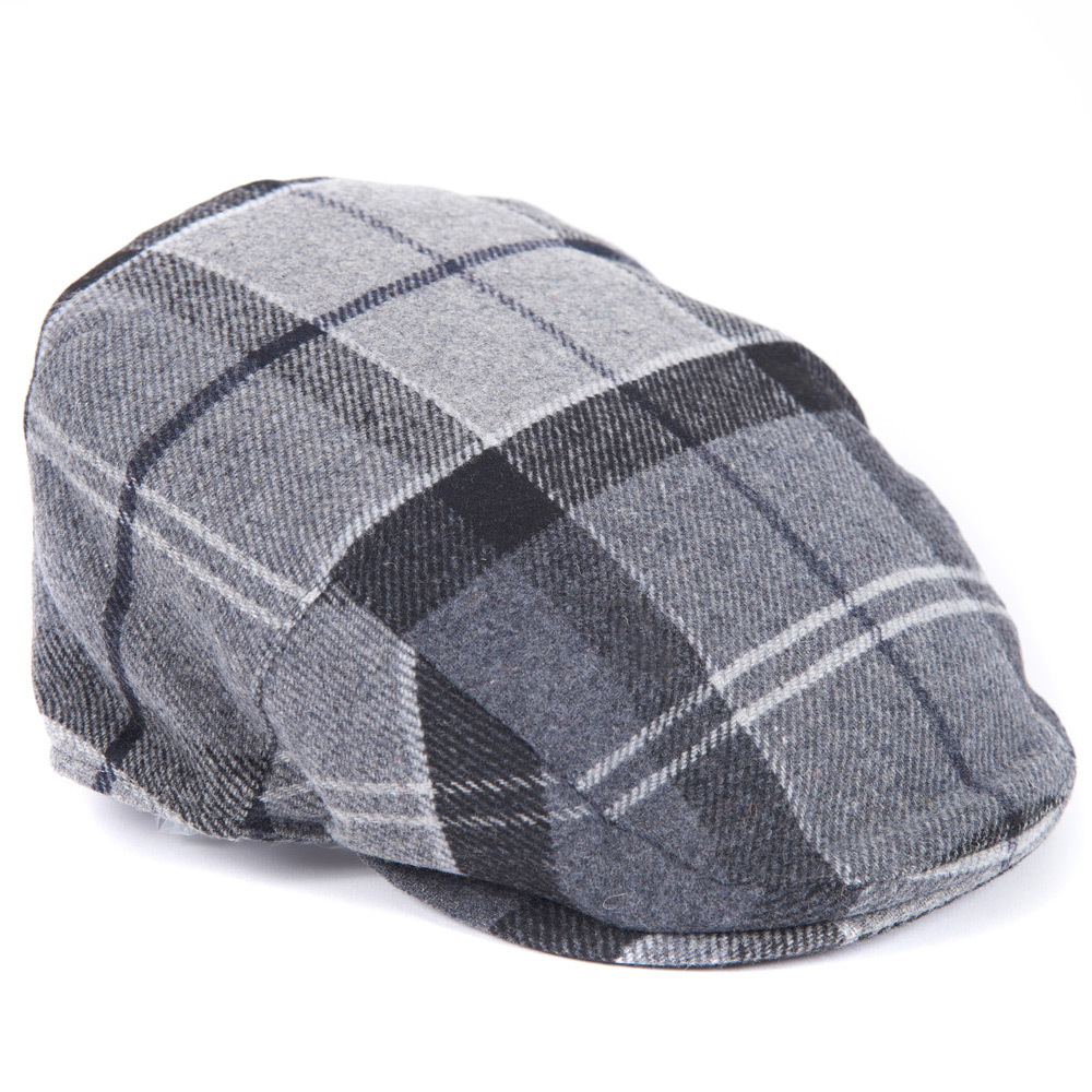 Gallingale tartan flat cap grey/black