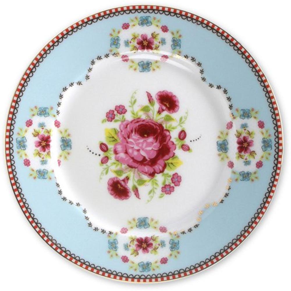 Gebaksbord roos blauw 17 cm