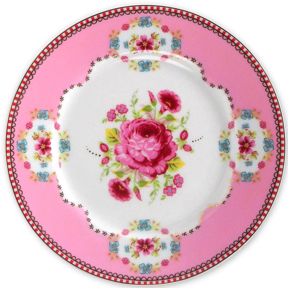Gebaksbord roos roze 17 cm