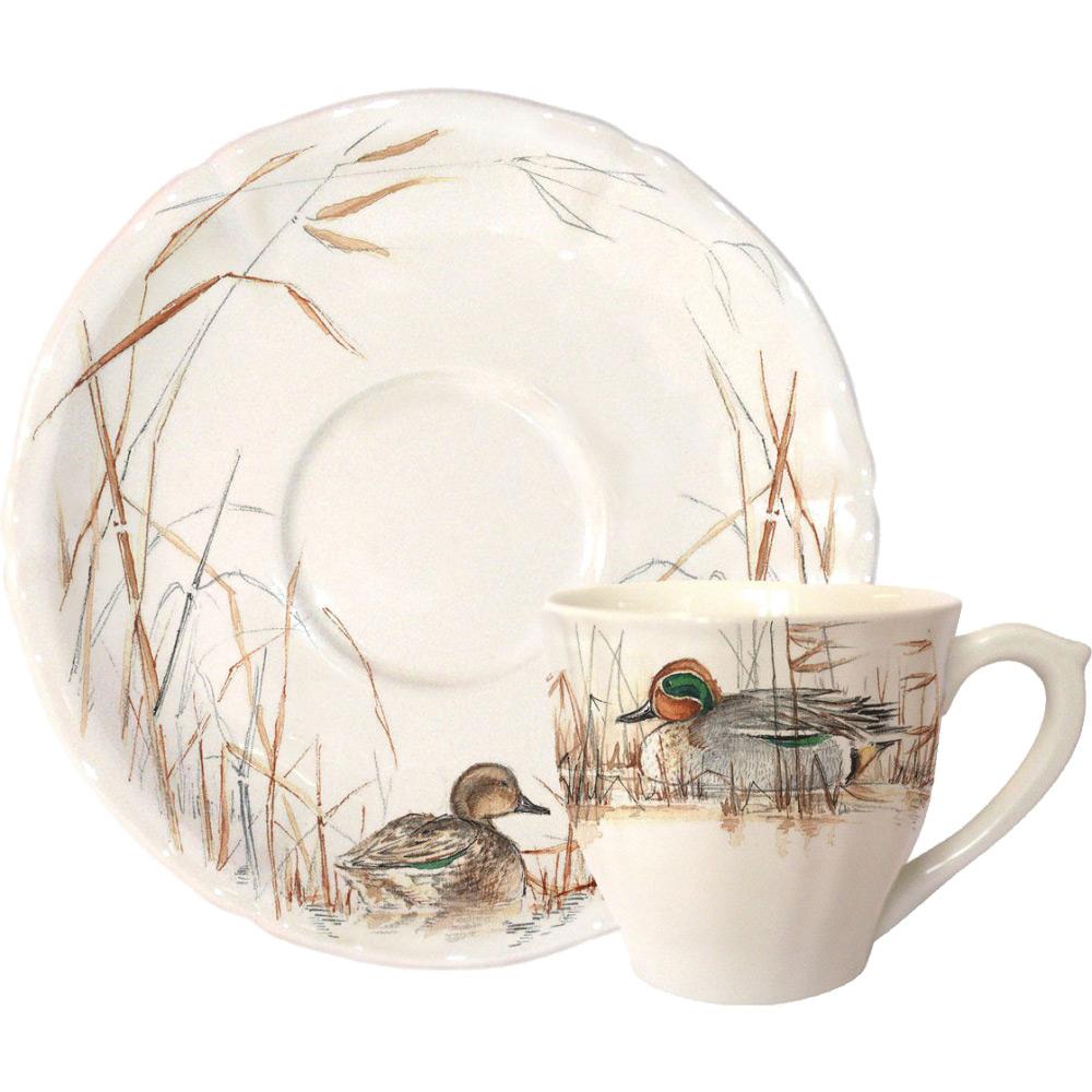 Gien koffiekop en schotel Sologne