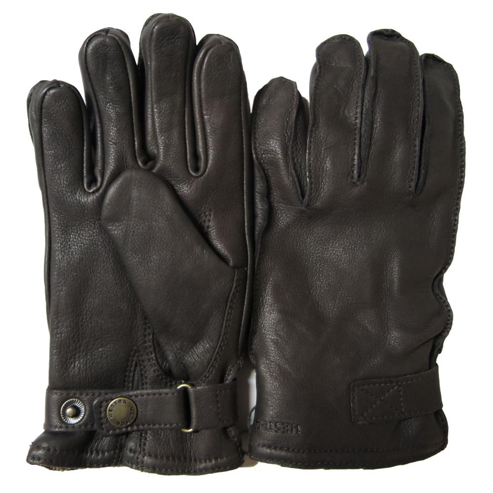 Handschoen deerskin wool terry dark brown