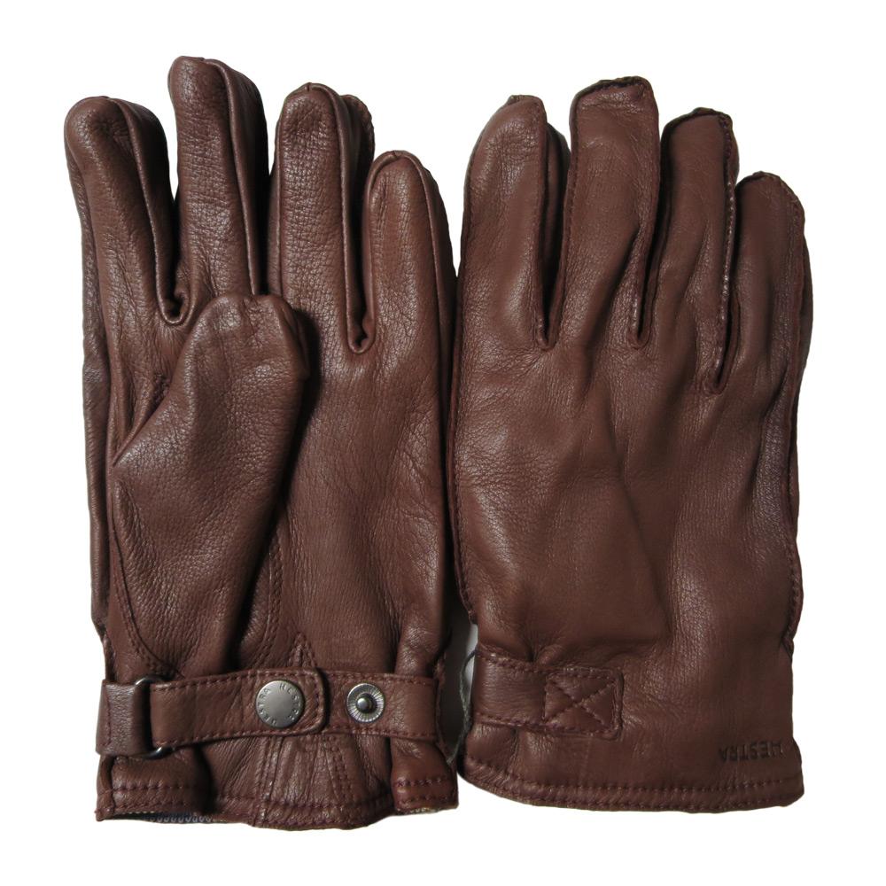 Handschoen deerskin wool terry chestnut