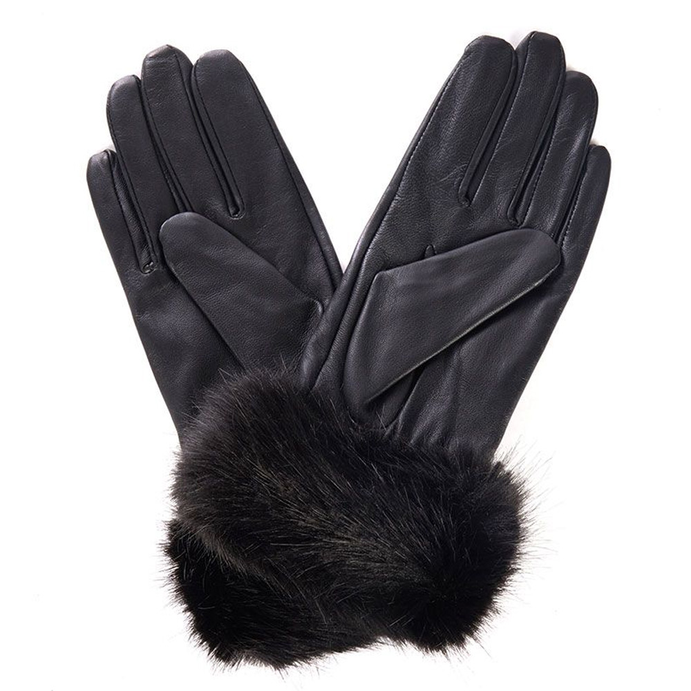 Handschoenen Fur Trimmed Black