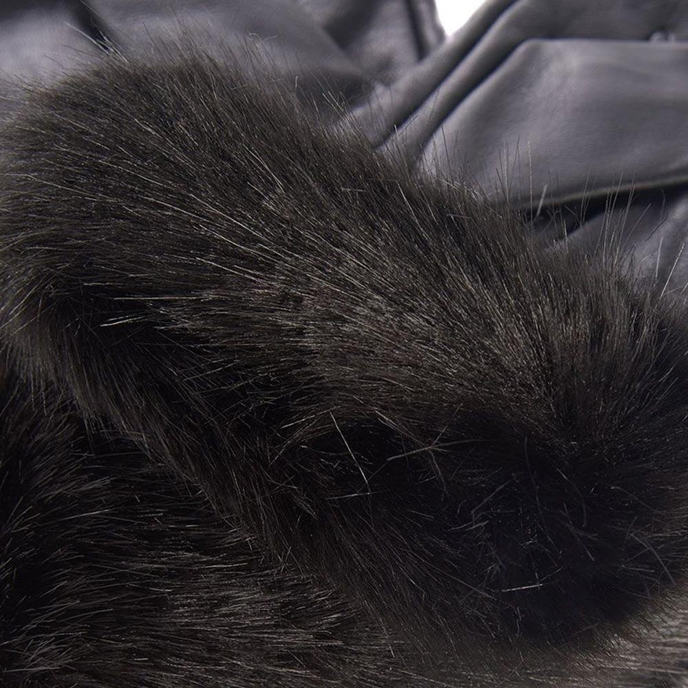 Handschoenen Fur Trimmed Black