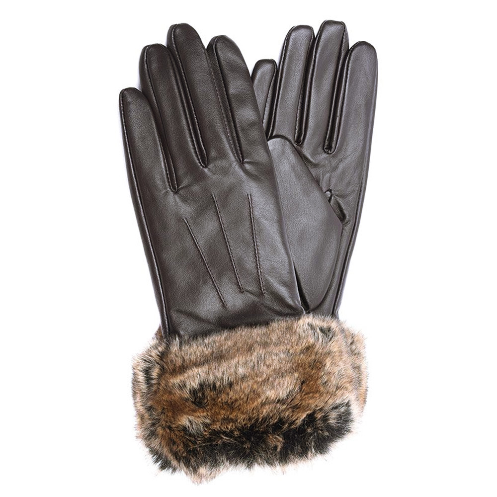 Handschoenen Fur Trimmed dark brown