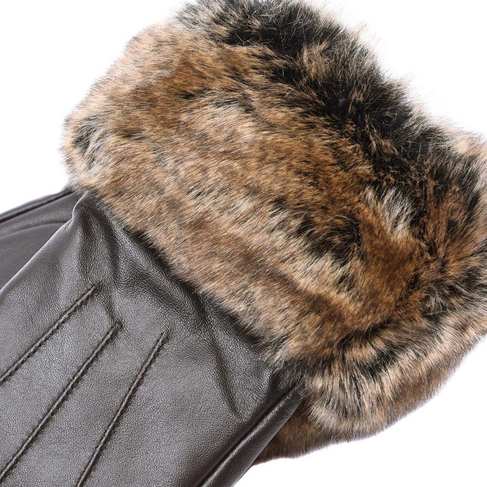 Handschoenen Fur Trimmed dark brown