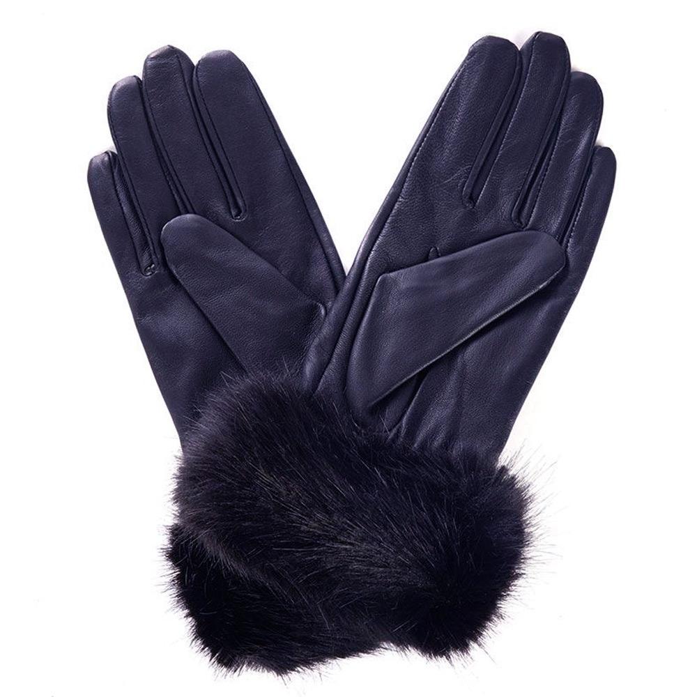 Handschoenen Fur Trimmed navy