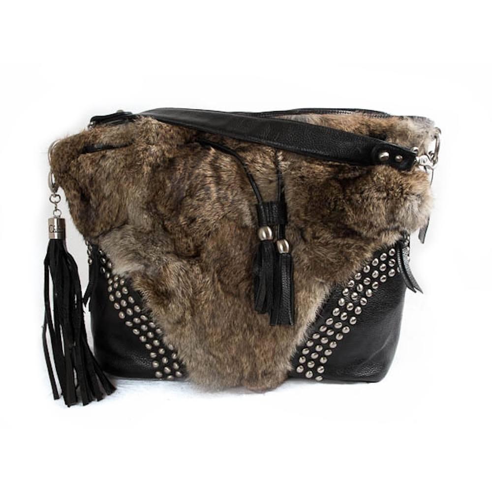 Handtas konijn - Bold Fur Black