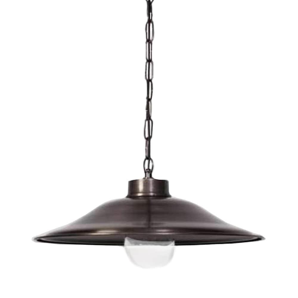 Hanglamp met glas tin antiek