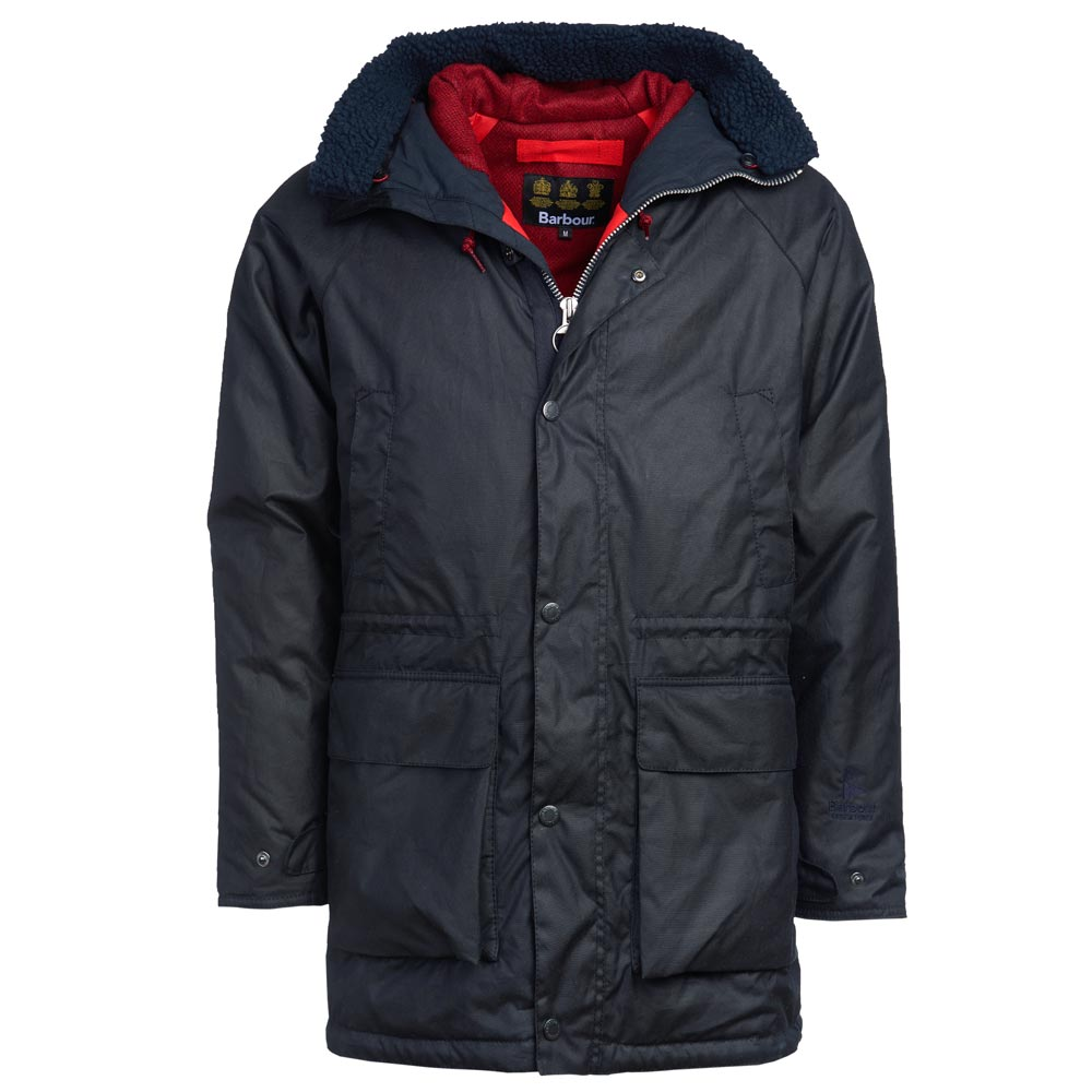 Heren waxjas north sea parka navy