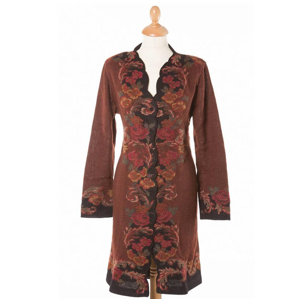 Il Roseto coat with Belt Cafe/Black (2805C)