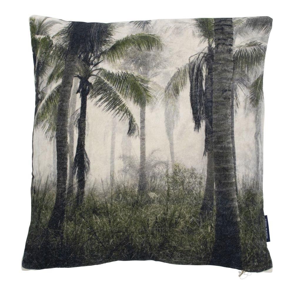 kussen fluweel palm groen