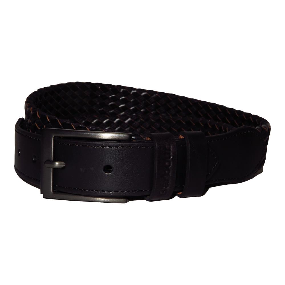 Leather & wax cotton belt black