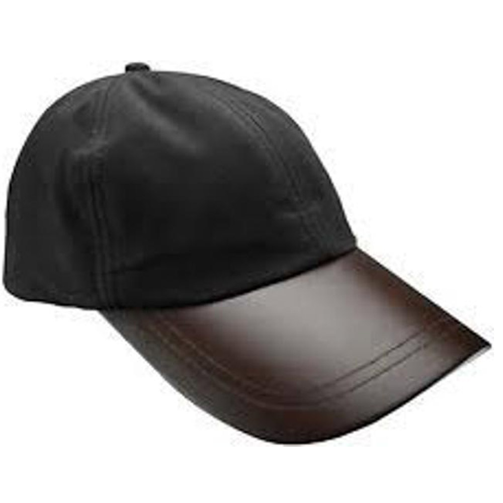 Leather Peak Wax Baseball Cap Zwart