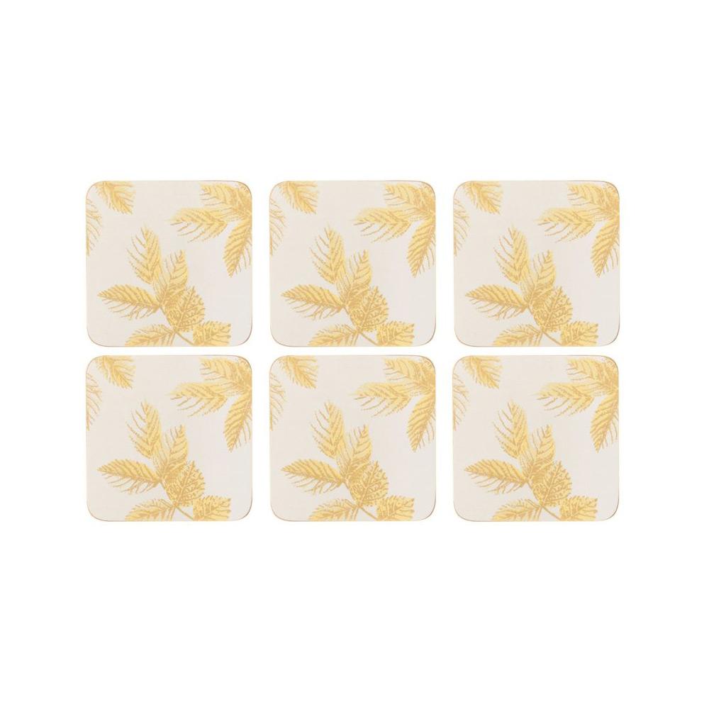 Onderzetter Etched leaves Light Grey, set van 6