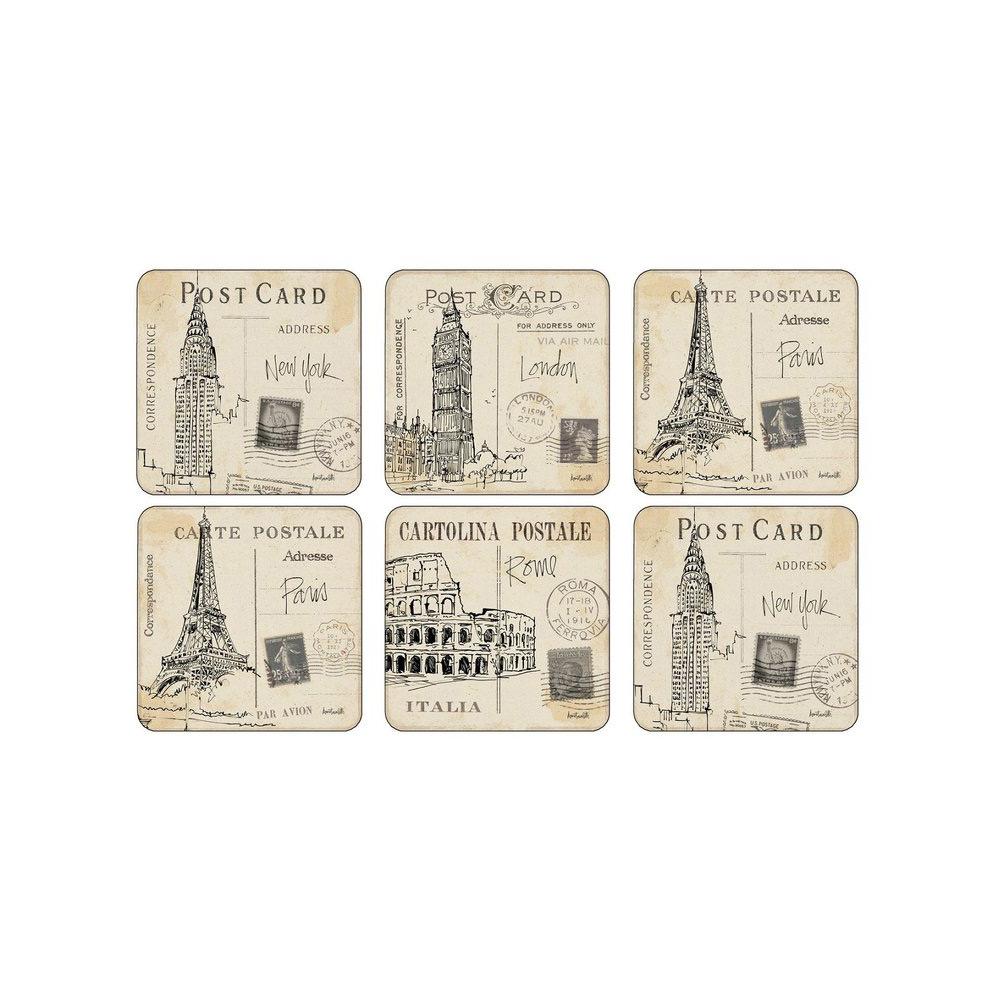 Onderzetters Postcard Sketches, set van 6