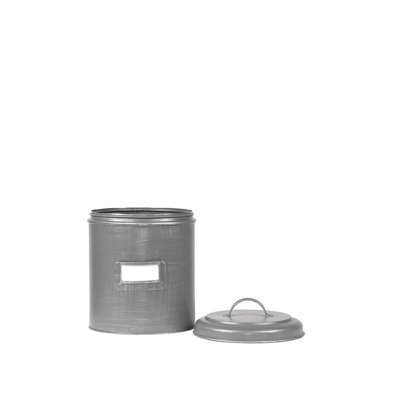 Opbergblik Opbergblik - Antiek grijs - Metaal - S - 10x10x15 cm