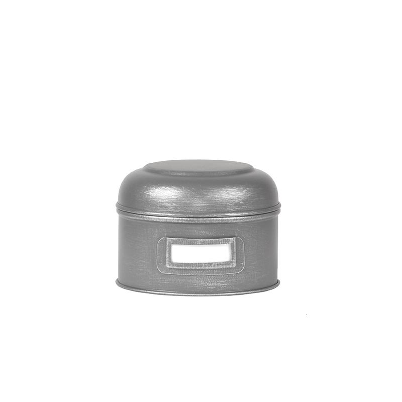 Opbergblik Opbergblik - Antiek grijs - Metaal - S - 13x13x10 cm