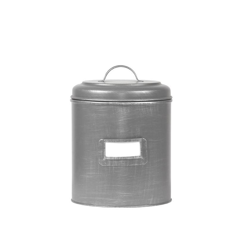 Opbergblik Opbergblik - Antiek grijs - Metaal - L - 18x18x24 cm