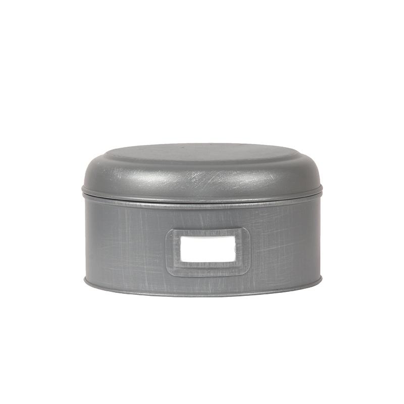Opbergblik Opbergblik - Antiek grijs - Metaal - L - 22x22x12 cm