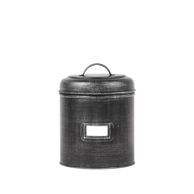 Opbergblik Opbergblik - Zwart - Metaal - M - 14x14x20 cm