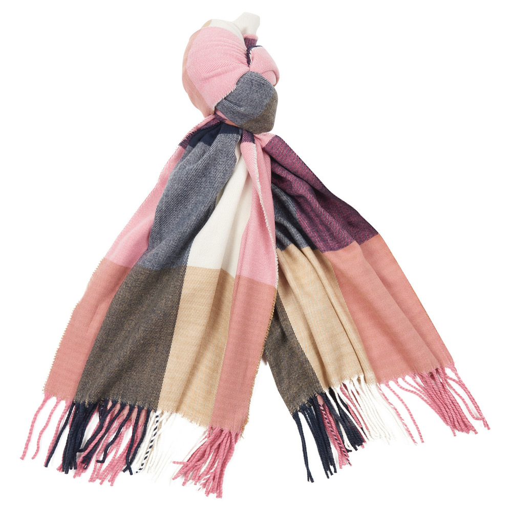 Pastel check scarf Pink/Hessian