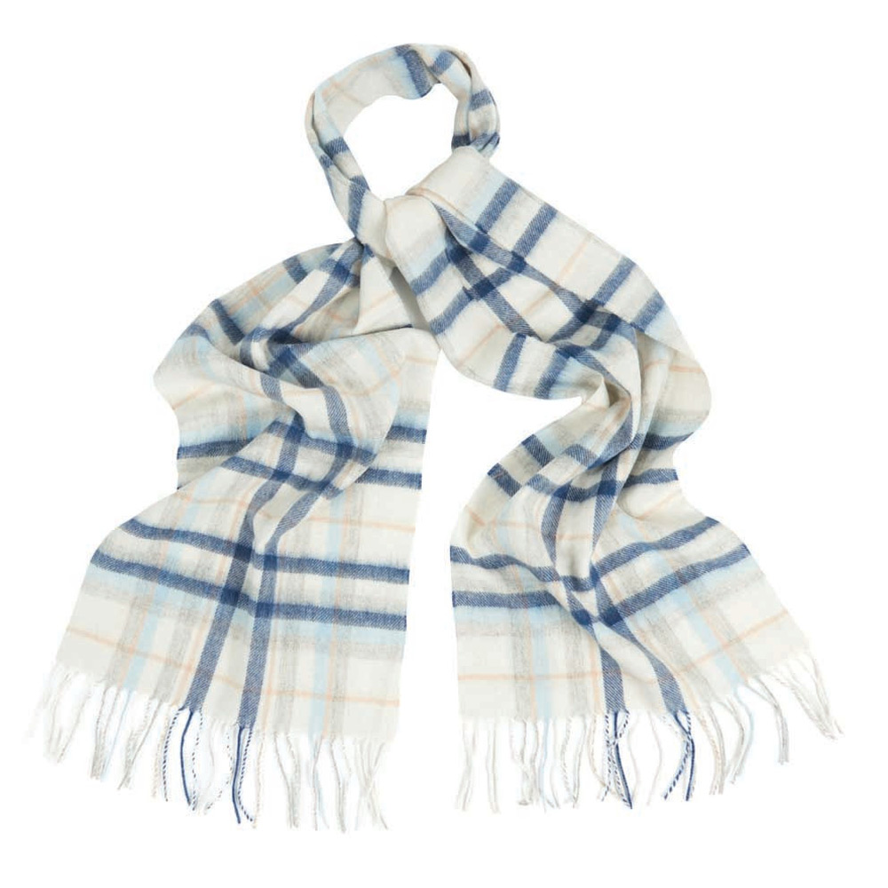 Penshaw check scarf neutral