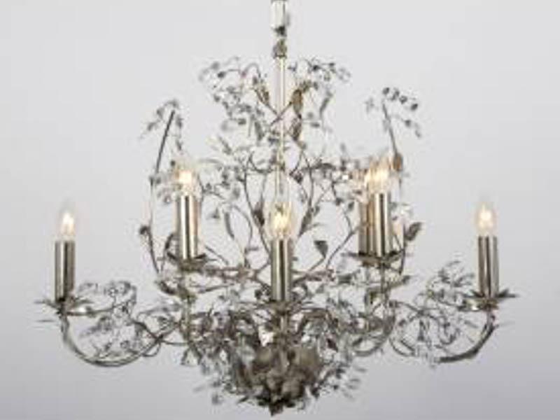 Elegance Ovaal Bladzilver 8 lichts