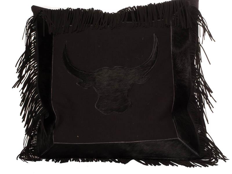 Kussen Canvas, Stier met franje, Zwart