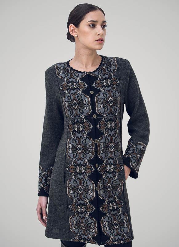 Damask (long) coat Grey 4014C