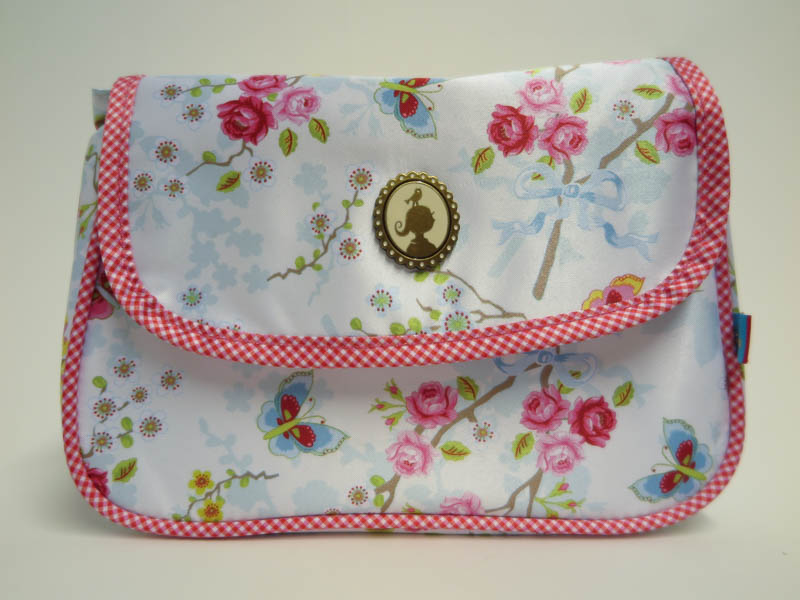 Cosmeticbag+flap Chinese Rose wit