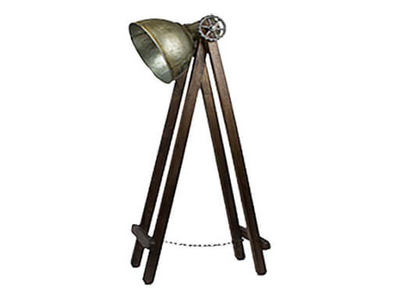 Vloerlamp hout met blikken kap XL
