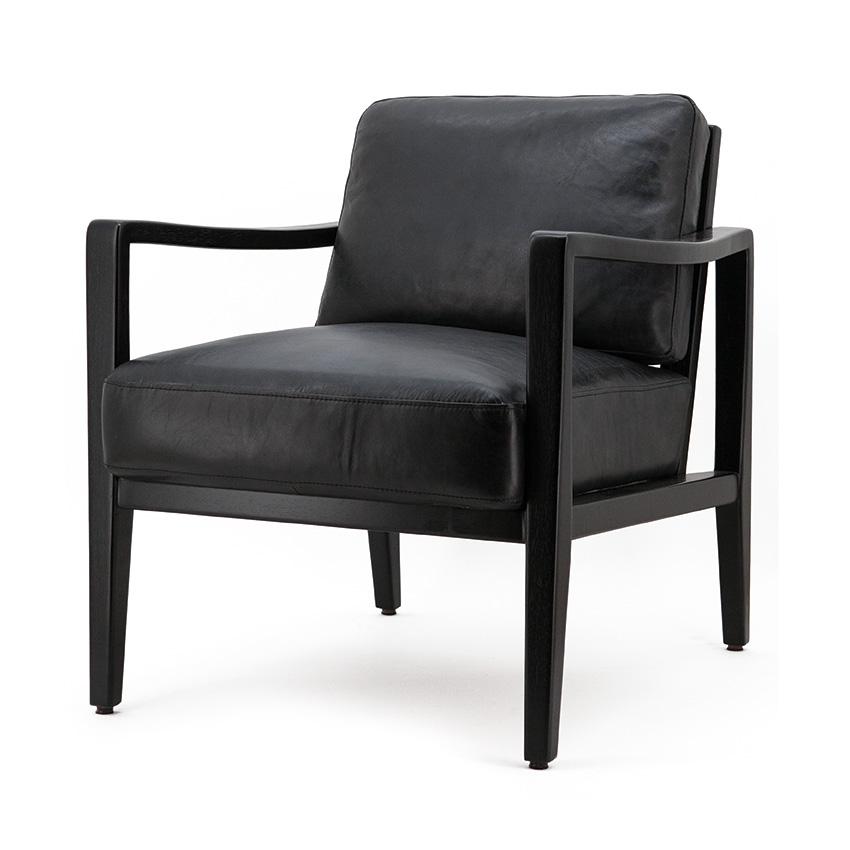 Fauteuil Olaf - zwart vintage leder