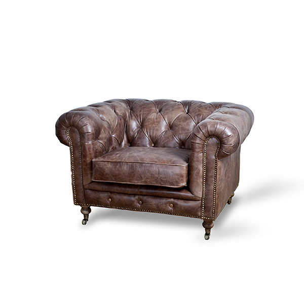 Fauteuil Chesterfield - donkerbruin vintage