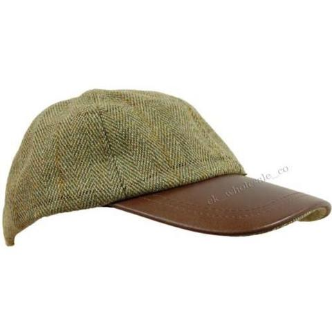 Leather Peak Baseball Cap olive tweed/teflon