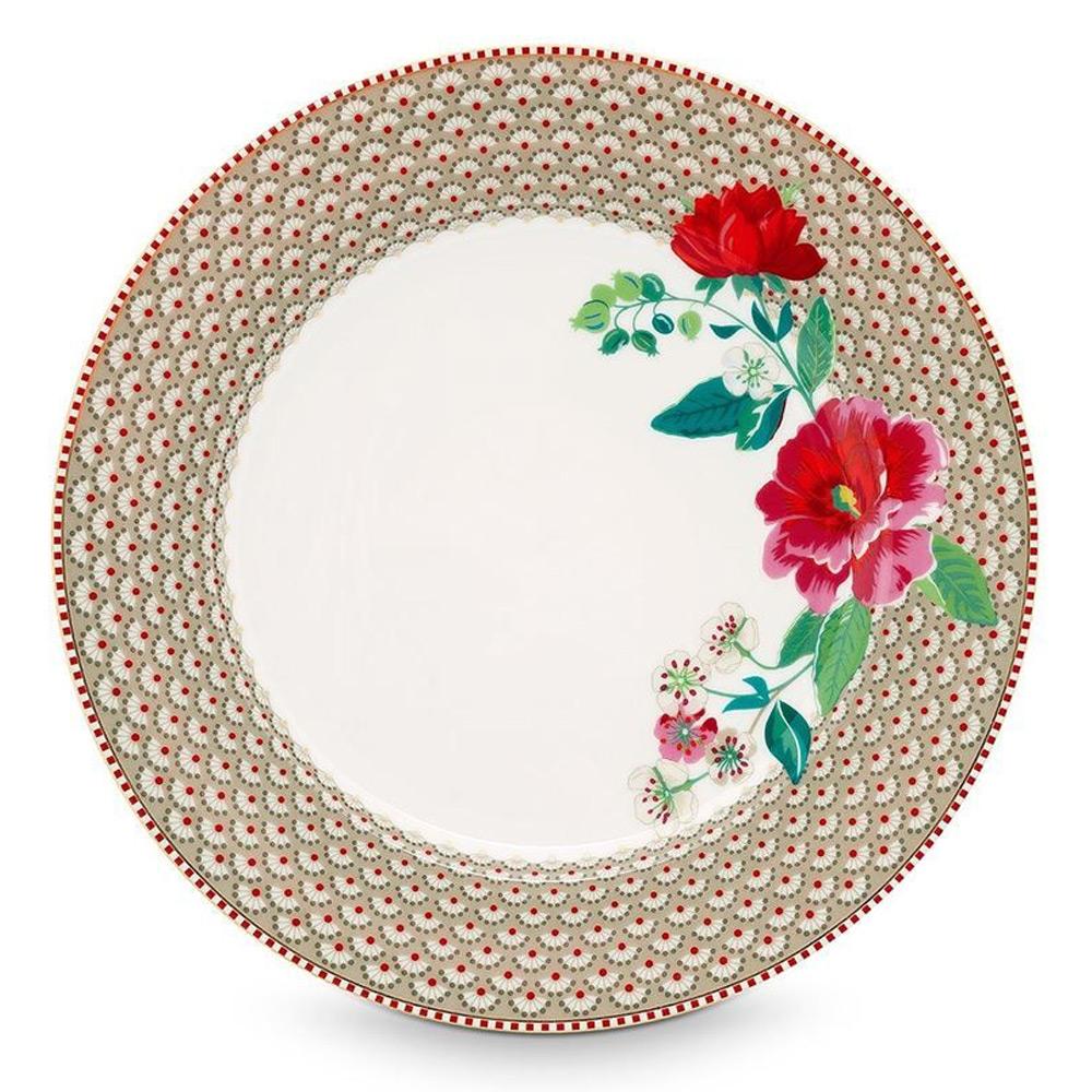 PiP Dinerbord 26,5 cm bloem khaki