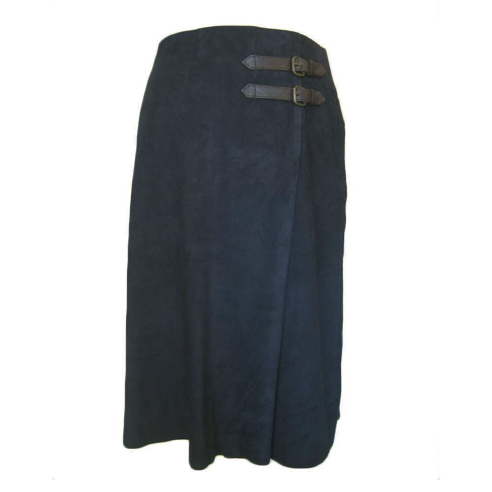 Rok Pleat Skirt Buckle navy